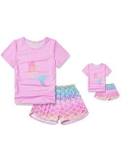 CHILDRENSTAR Matching Girls&Dolls Pajamas Summer Pjs Set Short Sleeve Sleepwear