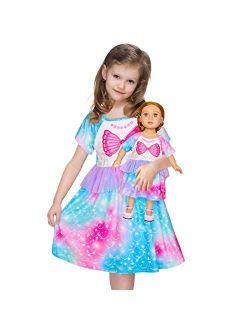 Girls Nightgown Matching Doll and Girls Mermaid Pajamas Night Dress Short Sleeve Girls Sleep Dress Nightgown Nightie
