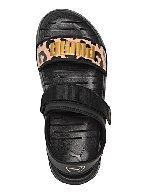 PUMA Women's Soft ride Leopard Sandals from Finish Line
