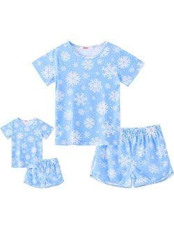 ModaIOO Matching Dolls & Girls Pajamas Short Sleeve Sleepwear Set