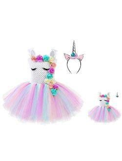 Matching Girls &dolls Unicorn Dresses Princess Pageant Party Costume