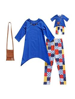 Dollie & Me Girls' Tunic with Purse, Legging and Matching Doll Outfit