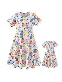 ModaIOO Girls Short Sleeve Dresses,Casual Print Playwears Matching Dolls & Girls Clothes