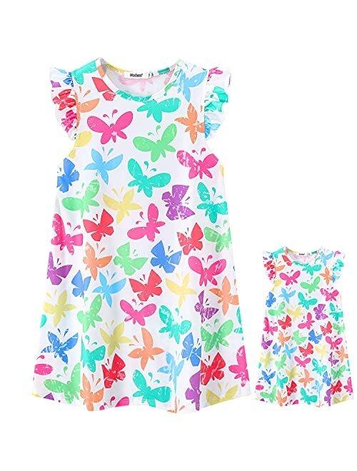 "ModaIOO Girls & Dolls Matching Clothes Nightgown Nightshirt Pajamas Nightdress Sleepwear Dress with 18"" Dolls Clothes"