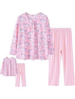 "ModaIOO Girls Pajamas Set Top Night Dress with Sleep Pants Pants Matcching 18"" American Dolls & Girls Sleepwear Long Sleeve"