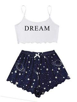 Women's Summer Strawberry Print Cami Top And Shorts Sleepwear Pajamas Set