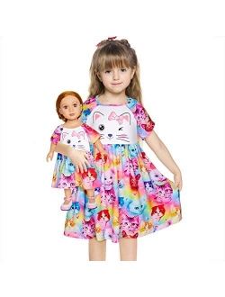 """MHJY Girl and Doll Matching Nightgown Cat Sleepwear Night Dress for Girls and 18"""" Dolls"""