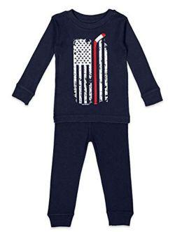 Hockey Stick American Flag - Sports USA Kids Pajama Set