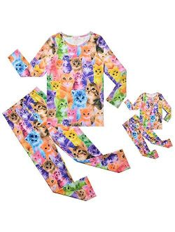 QPANCY Pajamas Matching Dolls&Girls Pjs Sets Unicorn Cat Mermaid
