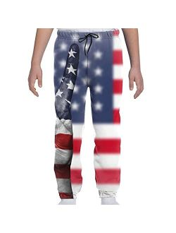 YAZXHJAZ Youth Kids Jogger Pants Graphic Baggy Sweatpants American USA Flag Funny Gesture Stars Stripes Trousers with Pockets
