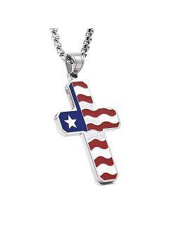 American Flag Patriotic Cross Religious Jewelry Enamel Pendant Necklace for Men Chain 24''
