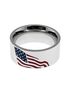 Joyful Sentiments Patriotic Jewelry Stainless Steel American Flag Ring