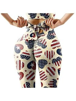 4th of July Leggings for Women, Independence Day American Flag Stars and Stripes Patriotic Pants Workout Running Tights