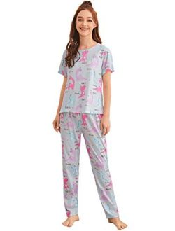 Women's Cute Printed Pajama Set Short Sleeve Top And Pants With Eye Mask