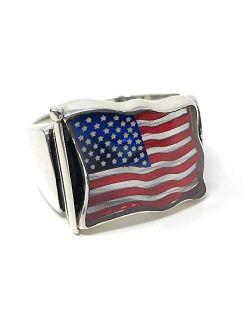KAR 925k Sterling Silver Men's Ring Newly Designed American Flag ~God Bless America~ K61Q