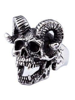ZMY Home Genuine Stainless Steel Ring Jewelry for Men Fashion Punk Biker Skull Rings