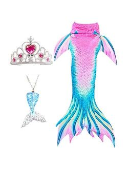 Mermaid Tail Tails Swimmable Costume Swimsuit for Girls Swimming (No Monofin)