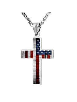 CTWUVS ADPR American Flag Patriotic Cross Pendant Necklace Religious Jewelry for Men