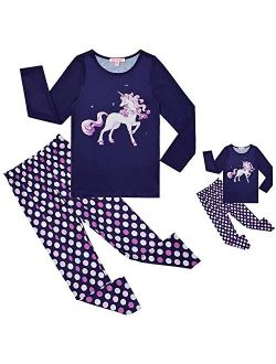 QPANCY Matching Girls&Dolls Pjs Set Kids Pajamas Long Sleeve Fall Winter Sleepwear
