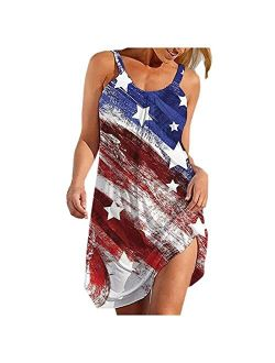 Oiumov Summer Dresses for Women Beach American Flag Patriotic Cute Dress Sundress Sleeveless Casual Boho Tank Dress