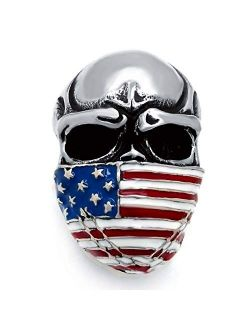 Elfasio Men's Stainless Steel Ring American Flag Mask Skull Biker Jewelry (US Size 8 to 15)