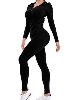 MixMatchy Women's Solid Zip Up Hooded Jacket & Leggings Set