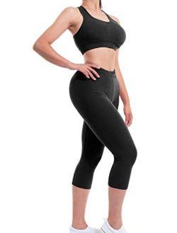 MixMatchy Women's Solid Racerback Yoga Workout Sports Bra Activewear Capri Set