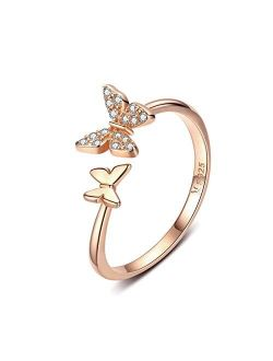 Sterling Silver Cute Butterfly Open Rings for Women Girls Adjustable Birthstone Crystal Dainty Animal Statement Promise Engagement Wedding Ring Eternity Band Rose Gold