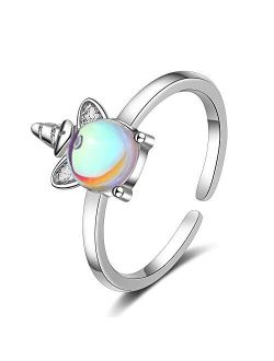 Chengxun Silver Unicorn Rings Moon Stone Inlaid Open Finger Ring for Girls Adjustable Ring