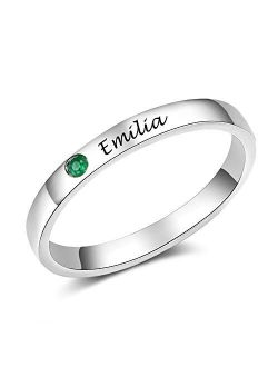 Tian Zhi Jiao Personalized Simulated Birthstone Rings Custom Engraved Names Best Friend Rings Valentines Birthday Gifts for Women Girls
