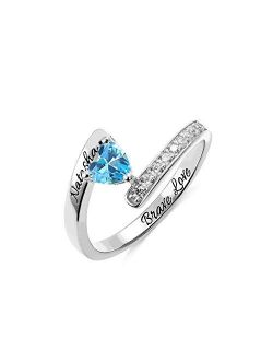 AILIN Personalized Birthstone Rings For Women 925 Sterling Silver Custom Name Ring Grandma Mothers Day Birthday Gifts