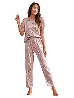 Women's Pajama Set Cute Printed Short Sleeve Top And Long Pants Sleepwear Pjs Sets With Eye Mask