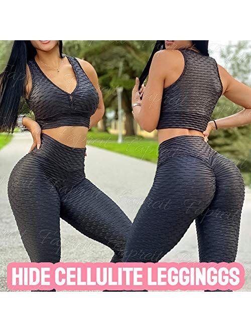 Fapreit Anti Cellulite Textured Lifting Leggings for Women Scrunch High Waist Yoga Pants Workout Honeycomb Ruched Tights