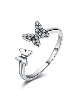 Sterling Silver 925 CZ Butterfly Ring Crystal Adjustable Open Rings Engagement Band Jewelry for Women Girls