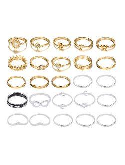 CSIYANJRY99 Boho Gold&Silver Ring Set Star Moon Knuckle Rings for Women Teen Girls Stackable Midi Finger Rings Set Wave Turquoise Evil Eye Rings Multiple Rings Bulk Pack