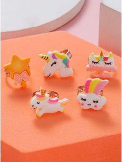 5pcs Toddler Girls Unicorn Decor Ring