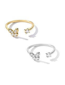 TOOPNK 2Pcs Butterfly Rings for Women Gold Silver Butterfly Ring Adjustable CZ Butterfly Jewelry for Teen Girls and Girlfriend Anniversary Birthday Gift
