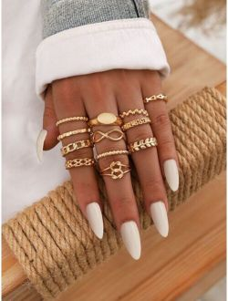 Assorted Geometric Ring Set - 12pcs-stackable or knuckle ring
