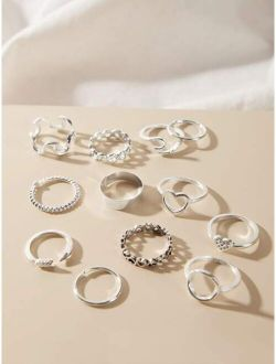 12pcs Geometric & Heart Decor Ring-stackable or knuckle ring