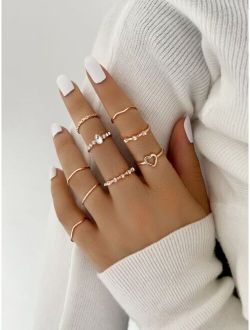9pcs Rhinestone Detail Ring-stackable or knuckle ring