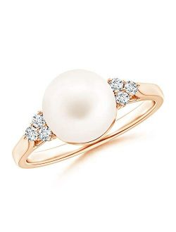 June Birthstone - Freshwater Pearl Ring with Trio Diamonds (9mm Freshwater Cultured Pearl)