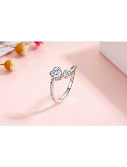 Presentski Heart Birthstone Adjustable Open Ring 925 Sterling Silver Gemstone Heart Promise Love Ring Jewelry Gift Birthday Gift for Mom Women Wife Girls