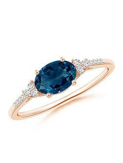 Horizontally Set Oval London Blue Birthstone Topaz Ring with Diamonds (7x5mm London Blue Topaz)