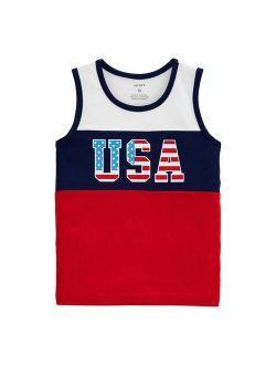 "Toddler Boy Carter's 4th Of July ""USA"" Colorblock Tank Top"