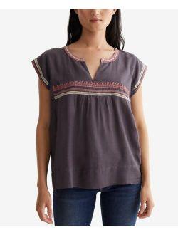 Embroidered Split-Neck Top
