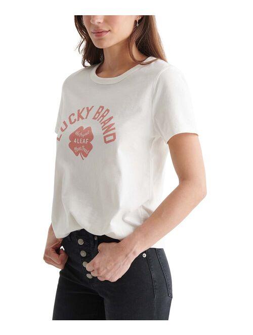 Marshmallow & Red 'Lucky Brand' Clover Crewneck Tee - Women