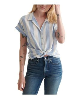 White & Blue Stripe Tie-Front Short-Sleeve Button-Up - Women