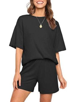 CHYRII Women Casual Ribbed Notch Neck Lounge Sets Short Sleeve Tops and Shorts Two Piece Pajamas Sets Outfits