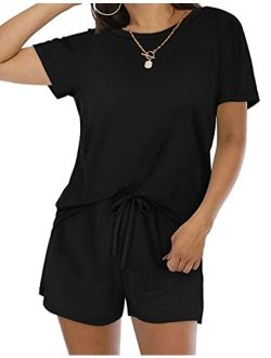 Sousuoty Womens Two Piece Outfits Shorts Set with Pockets