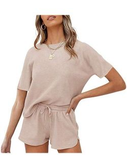 Women's Short Sleeve Waffle Pajama Sets Lounge Top And Shorts 2 Piece Tracksuit Outfits
